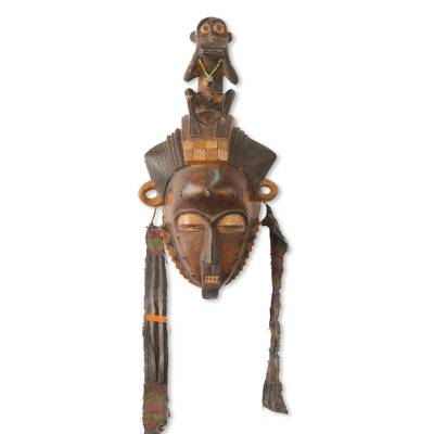 African mask, 'Baule She Monkey' - Ivory Coast Baule Tribe Mbra Monkey African Mask