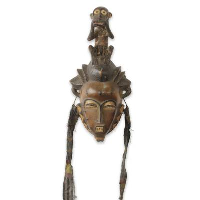 African mask, 'Baule He Monkey' - African Tribal Mask