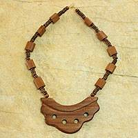 Wood pendant necklace, 'African Beauty' - Hand Crafted Wood Bead Necklace from Africa