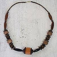 Wood and ceramic beaded necklace, 'Well Done' - African Necklace of Terracotta and Wood Beads