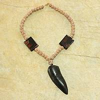 Agate and ceramic necklace, 'Horn of Life' - Handcrafted African Beaded Necklace with Agate