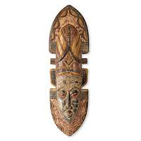 African mask, 'Queen of Africa' - Hand-Carved Wood Ghanaian Tribal Queen Mask