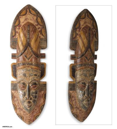 African mask, 'Queen of Africa' - Hand Carved African Mask from Ghana