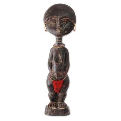 Wood fertility doll, 'Ashanti Figure' - Hand Crafted Ashanti Fertility Doll