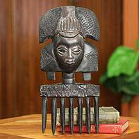 Wood wall sculpture, 'Ashanti Comb' - Handcrafted Wood Sculpture from Ghana