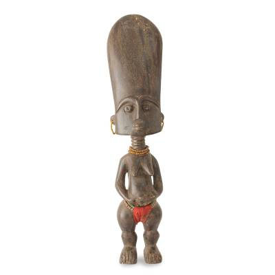 Wood fertility doll, 'Fanti Woman' - Hand Crafted Fanti Fertility Doll