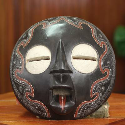 African mask, 'Bliss' - Circular Hand Carved African Mask from Ghana