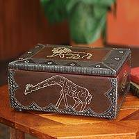 Wood box, 'Jungle Guardians' - Hand Carved African Animal jewellery Box