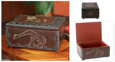 Hand Carved African Animal Jewelry Box Jungle Guardians Novica