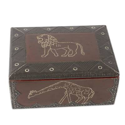 Wood box, 'Jungle Guardians' - Hand Carved African Animal Jewelry Box