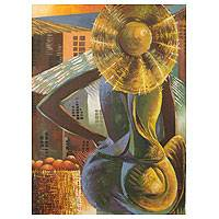 'Market Woman' - Woman at African Market Painting Signed Fine Art