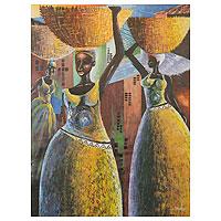 'Market Scene' - Ghanaian Market Scene Painting