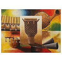 'Musical Instruments' - Original African Painting Signed Fine Art
