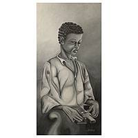 'African Piano' - Black and White Painting Signed Fine Art