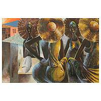 'Agbogloshie Market' (2013) - Original African Painting Signed Fine Arts