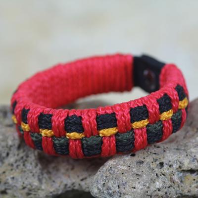 Men's wristband bracelet, 'Red Ananse Web' - Artisan Crafted Recycled Bracelet for Men