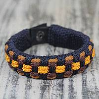 Men's wristband bracelet, 'Navy Ananse Web' - Artisan Crafted Recycled Bracelet for Men