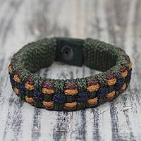 Men's wristband bracelet, 'Green Ananse Web' - Men's Handcrafted Wristband from Ghana