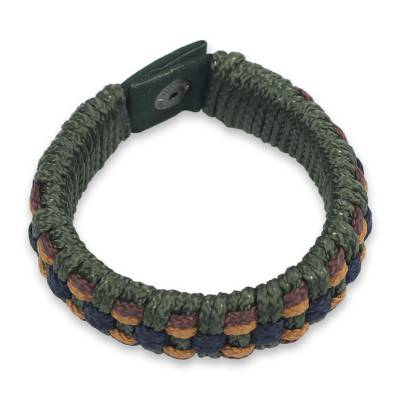 Men's wristband bracelet, 'Green Ananse Web' - Fair Trade Men's Bracelet Hand-crafted Jewelry