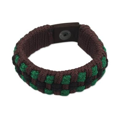Men's wristband bracelet, 'Dark Brown Ananse Web' - Fair Trade Men's Bracelet Hand-crafted Jewelry