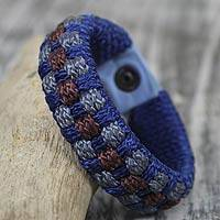 Men's wristband bracelet, 'Blue Ananse Web' - Men's Handmade Recycled Bracelet