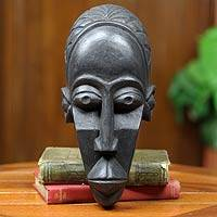 African wood mask, 'Agya Kofi' - African Mask Hand Carved Sese Wood from Ghana