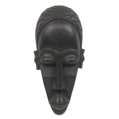 African Mask Hand Carved Sese Wood from Ghana