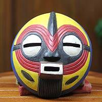 African wood mask, 'Joy' - Original African Mask Crafted by Hand
