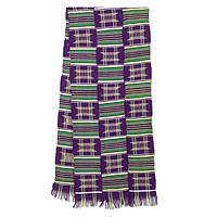 Cotton blend kente cloth scarf, 'Purple Makomaso Adeae'  (15 inch width) - Handwoven Traditional Kente Cloth Scarf 15 Inch Width