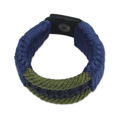 Men's wristband bracelet, 'Colors of Courage' - Men's Bracelet Macrame on Leather