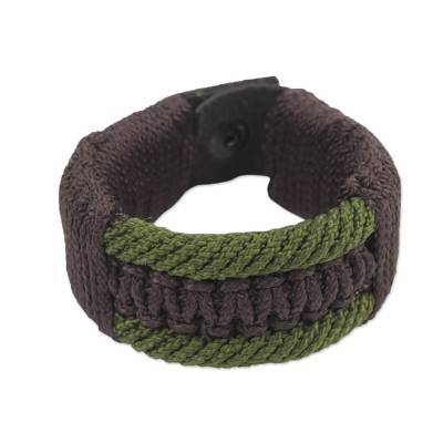 Fair Trade Brown and Olive Green Woven Cord Men