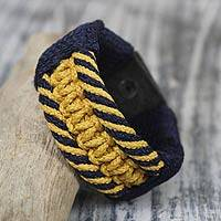Men's wristband bracelet, 'Colors of Distinction' - Men's Bracelet Macrame on Leather
