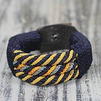 Men's wristband bracelet, 'Blue Abankaba' - Artisan Crafted Wristban Bracelet for Men