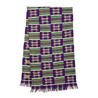 Cotton blend kente cloth scarf, 'Purple Makomaso Adeae'  (20 inch width) - Handwoven Traditional Kente Cloth Scarf 20 Inch Width