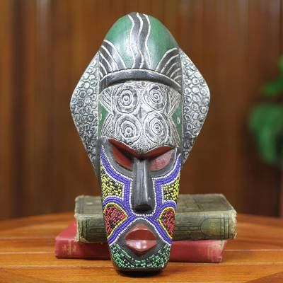 African beaded wood mask, 'Landa' - Tribal Chief African Mask Beaded Wood