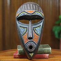 African beaded wood mask, 'Agya Kofi' - African Beaded Wood Handcrafted Mask