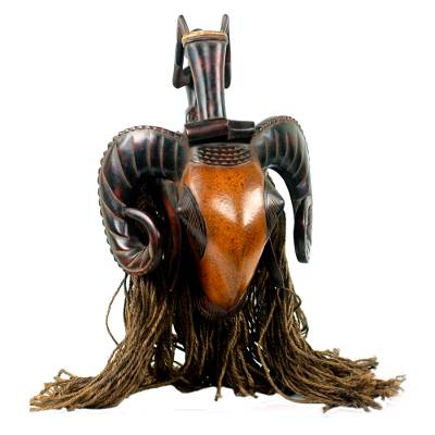 African mask, 'Brown Baule Ram' - Ivoirian African Ram Mask with Jute Mane