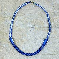 Braided necklace, 'Ashanti Muse in Light Blue' - Artisan Crafted Braided Necklace African Jewelry