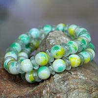 Beaded stretch bracelets, 'Bravo' (pair) - Two Agate and Recycled Glass Stretch Bracelets