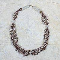 Agate and tiger's eye beaded necklace, 'Currency'