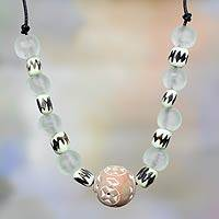Recycled glass and ceramic beaded necklace, 'African Accents' - Recycled necklace from West Africa
