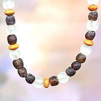 Wood and recycled glass beaded necklace, 'A Good Lady' - African Recycled Necklace