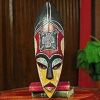 African mask, 'Safety and Security' - Red and Yellow African Mask