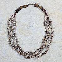 Agate and tiger's eye beaded necklace, 'Elegance' - Agate and Tiger's Eye Beaded Necklace