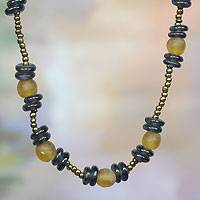 Recycled glass beaded necklace, 'Delight' - Blue and Yellow Recycled Glass Beaded Necklace