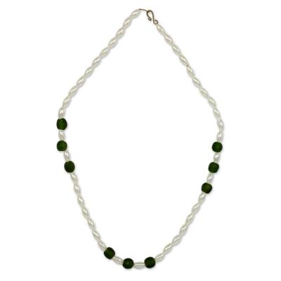 Green and White Recycled Glass Beaded Necklace