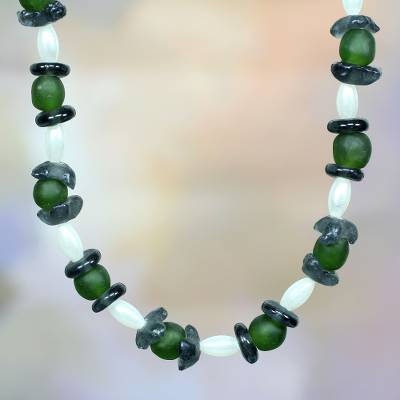 Recycled glass beaded necklace, 'Forest Breeze' - Recycled Glass Beaded Necklace
