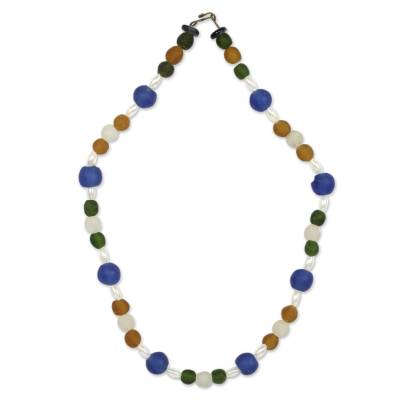 Recycled glass beaded necklace, 'Timeless' - Handmade Recycled Glass Necklace