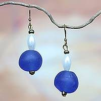 Recycled glass dangle earrings, 'Timeless' - Handmade Recycled Glass Earrings