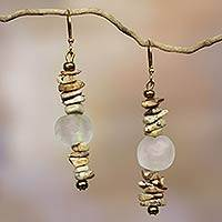 Agate dangle earrings, 'Currency' - Handcrafted African Agate Earrings